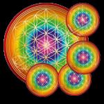 Untersetzer Blume des Lebens - Chakren-Ausgleich - rund - Set